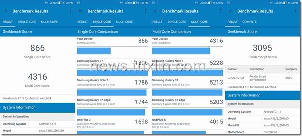 Benchmark Asus Zenfone 4 Selfie Pro ZD552KL Geekbench 4