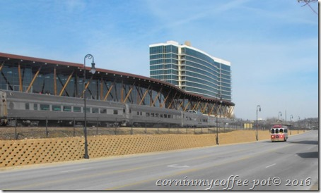 line of train cars and trolley- branson Mo