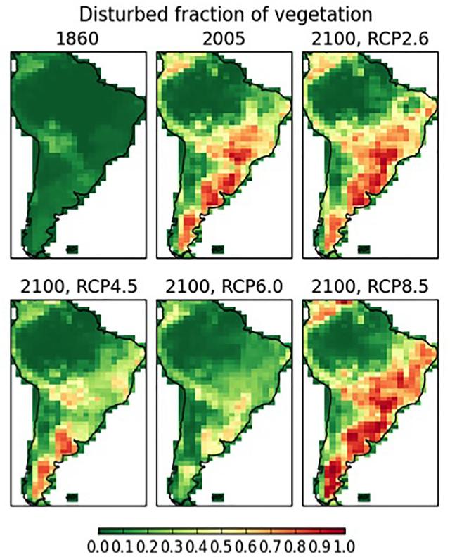 Disturbed fraction of vegetation across South America simulated by the HadGEM2-ES Earth System Model, at 1860, 2005, and four future scenarios at 2100: RCP2.6 (high mitigation), RCP4.5, RCP6.0, and RCP8.5 (high emissions). Graphic: Marengo, et al., 2018 / Frontiers in Earth Science
