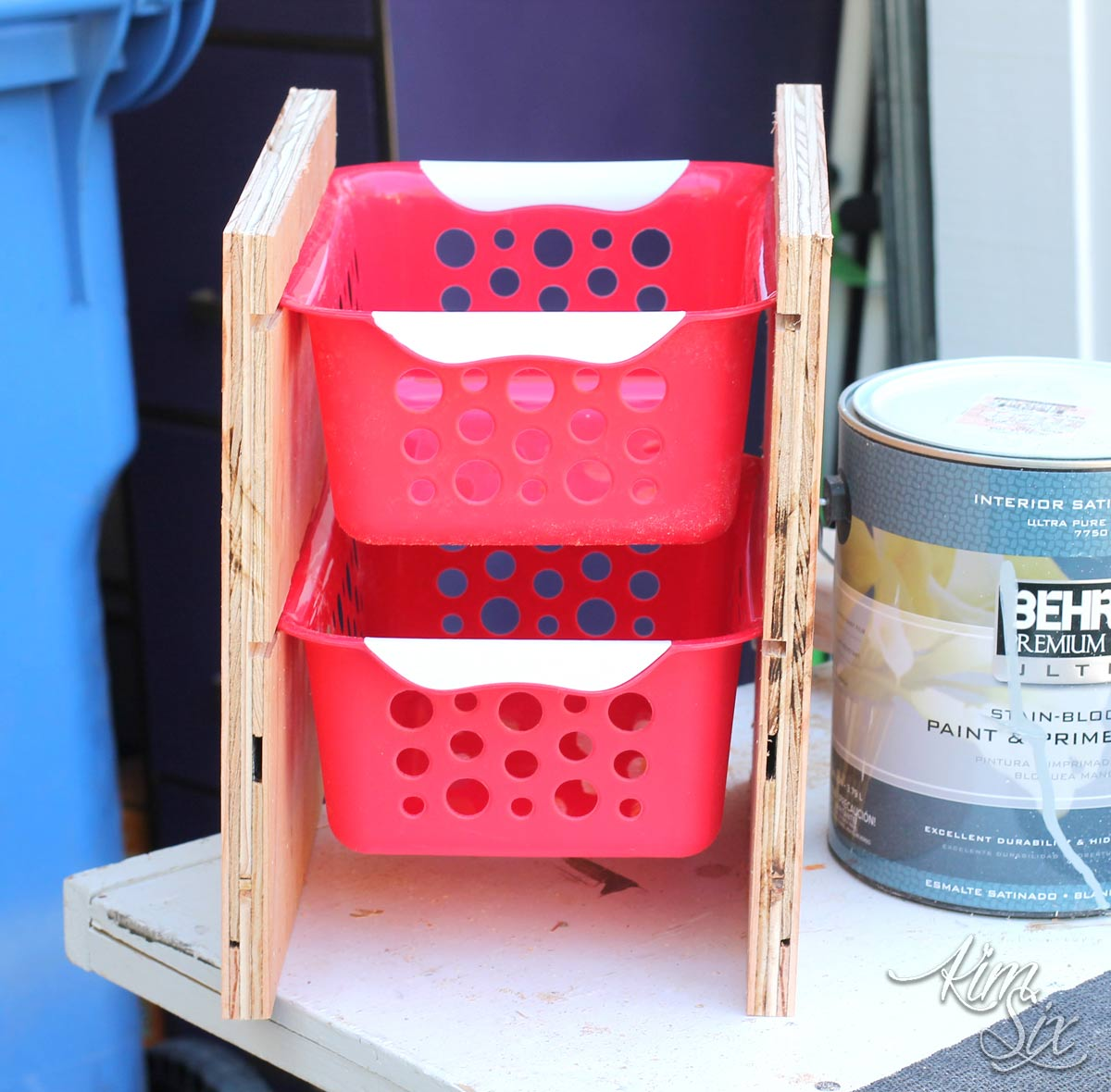 Plywood rack for dollar store baskets