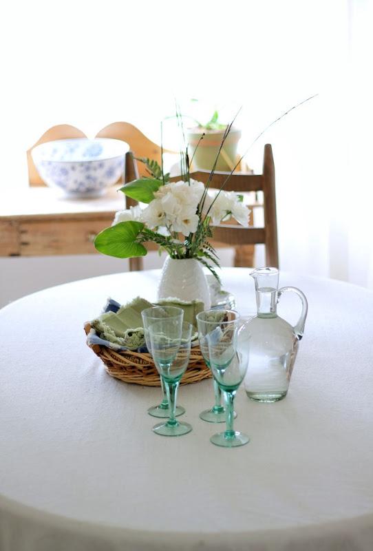 Green Glass Decor Coastal Beach Dining Room