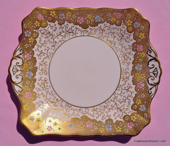 Tuscan pink fine bone china cake plate with gold and hand painted flowers