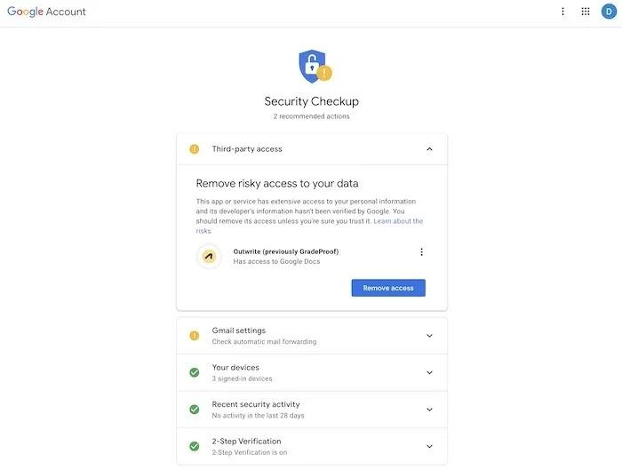 فحص نصائح أمان حساب Gmail