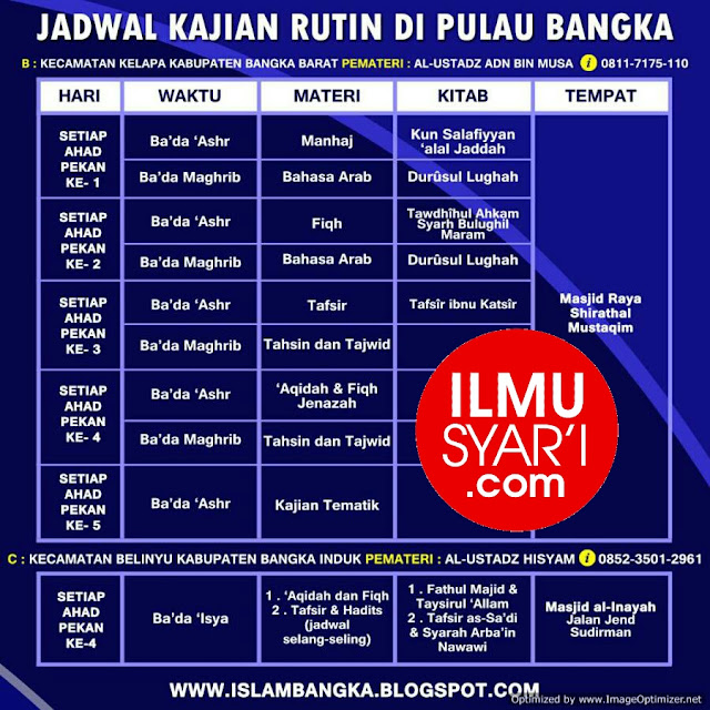 Informasi Jadwal Kajian Sunnah di Bangka