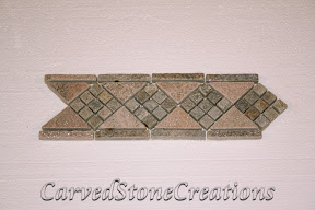 Border, Flooring, Flooring & Mosaics, Interior, Listello, Mosaic, Natural, Quartzite, Rose, Stone