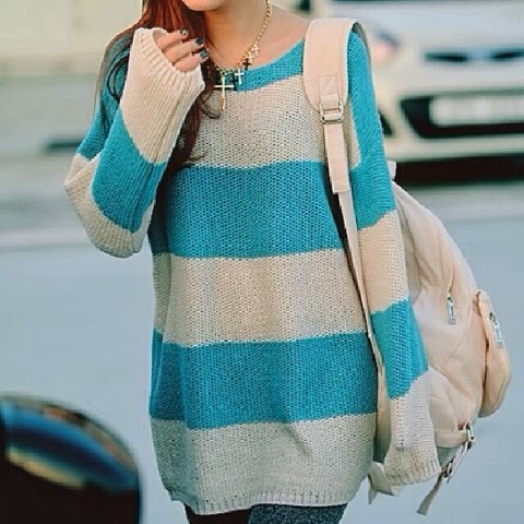 Oversized blue and cream cardigan for fall