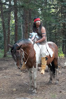 Kicker: Apache warrior, story teller, and horseback trail guide, Paseo del Lobo, July 13, 2012 (Photo by R. Coyote)