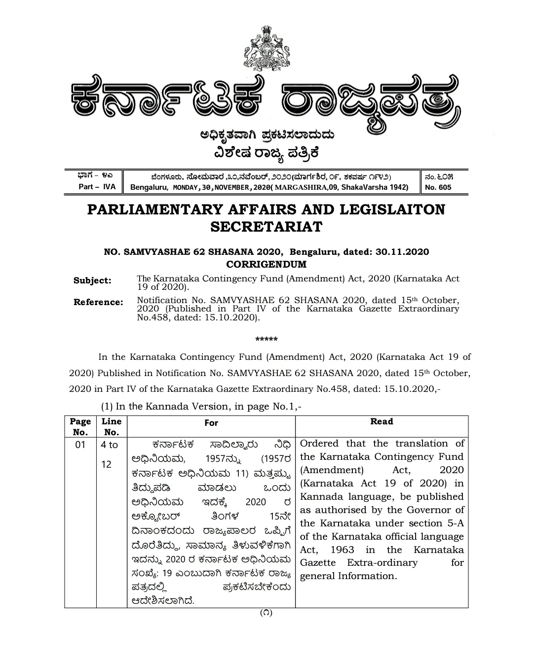 Corrigendum to the Karnataka Contingency Fund (Amendment) Act, 2020 (Karnataka Act 19 of 2020).
