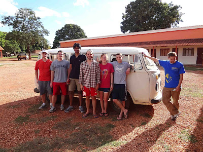 Biosand Water Filter Team with Ethan and Kombi, about to head out to the Pantanal from Poconé! From left to right: Ian Fitzner, Chris Krebs, Sriram Yarlagadda, Greg Ewing, Grace Hilbert, Cory VonAchen, and Ethan Shirley