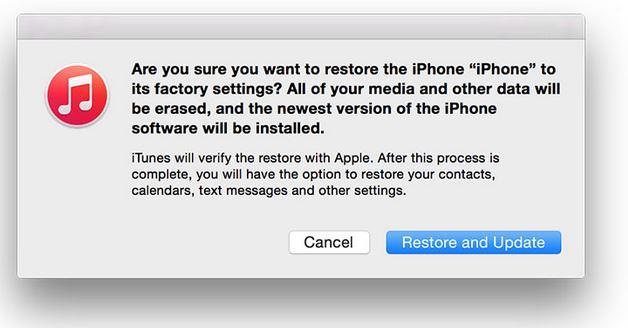 Nhấn vào Restore and Update và chờ đợi
