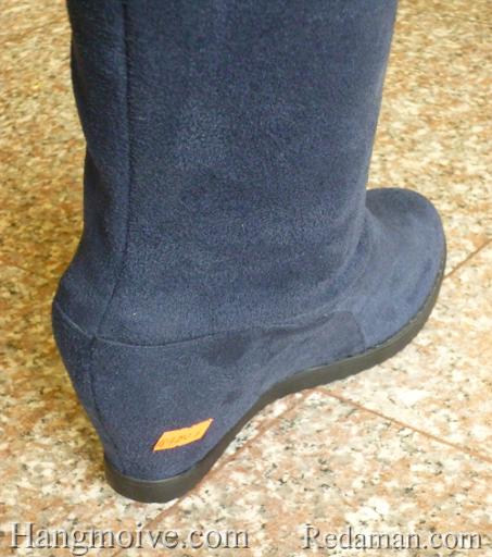 Boots đế xuồng, cao cổ quá đầu gối, chất liệu bằng da lộn, màu xanh 6 - Chỉ với 790.000đ