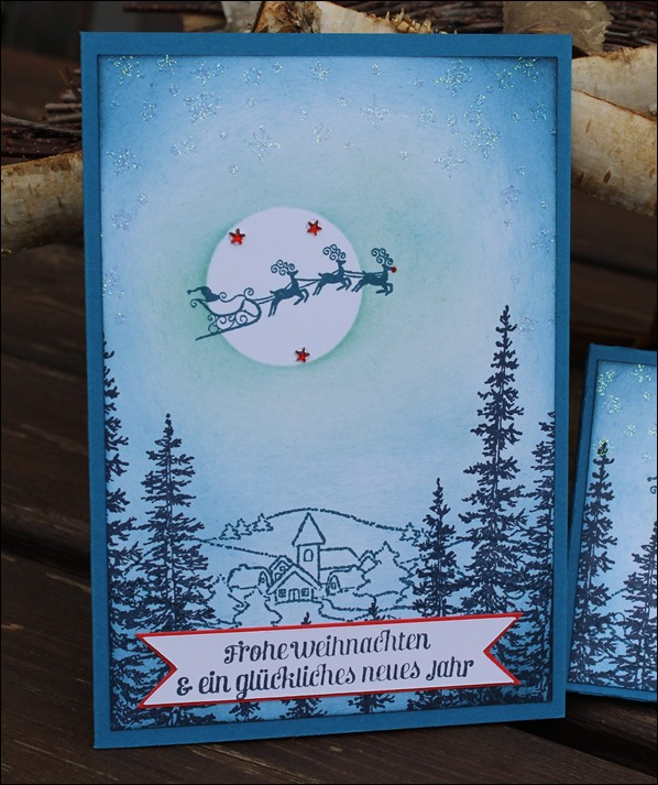 Adventskalender to go Stampin Up Santa Sleigh Rudolph Winter Scene Dorf Weihnachten 01