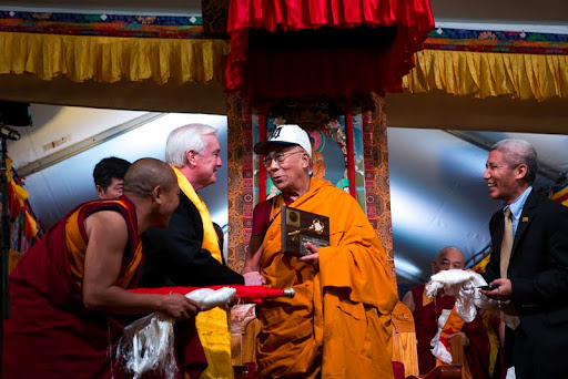 His Holiness receiving honorary Medford citizenship and the key to the city of Medford from Mayor Michael McGlynn, Kurukulla Center, October 2012. Photo by Kadri Kurgun.