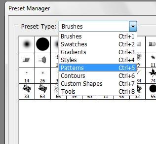 Selecione Pattern na caixa de opções, ou use o atalho Ctrl + 5