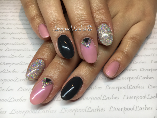 liverpoollashes liverpool lashes cnd shellac blush teddy lecente spark asphalt naked naivete pink silver and grey nails