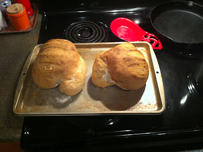 Misshapen crusty bread loaves