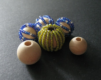 Seed Bead Covered Macrame Beads