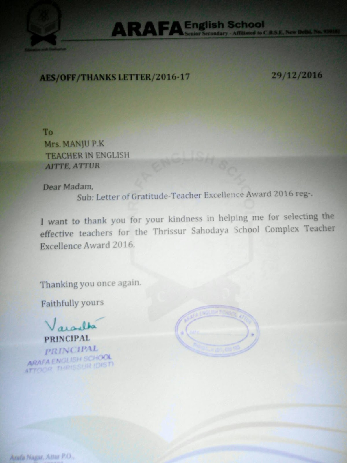 Silent Tears An Appreciation Letter From Arafa School Principal For