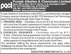 PACL%2Badvertisement%2B2018%2Bwww.indgovtjobs - Punjab Alkalies and Chemicals Ltd Recruitment 2018 Chemical Engineer, Process Head
