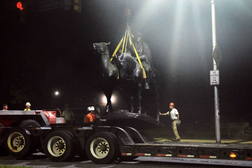The Jackson-Lee Monument is removed in Baltimore.