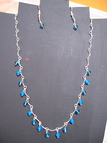 blue swarovski in wave chain $10.00