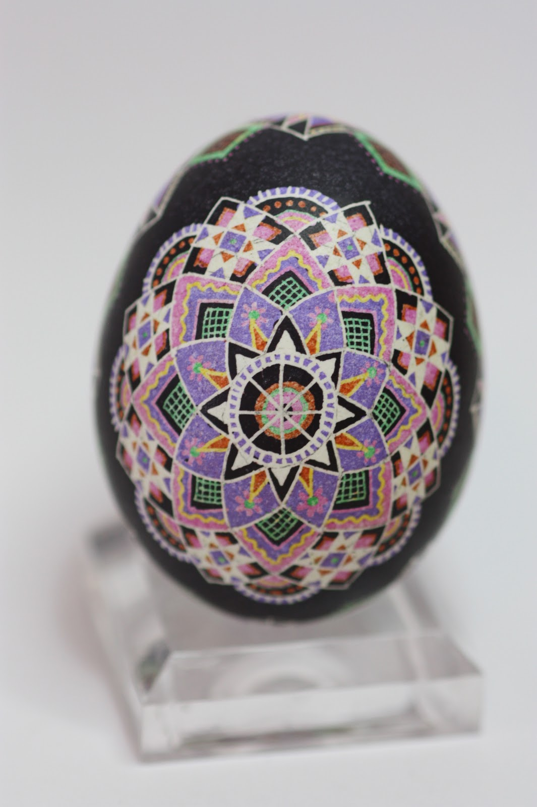 Purple and Pink Star Rose Ukrainian Egg on Black