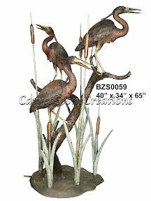 Bronze, Cranes, Fountain, Herons, Statue