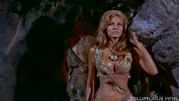 Raquel Welch in fur bikini outside cave entrance in the Hammer film One Million Years BC