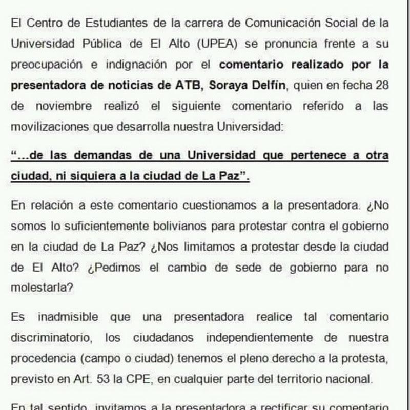 Comunicación Social de la UPEA cuestiona el comentario de Soraya Delfín de ATB