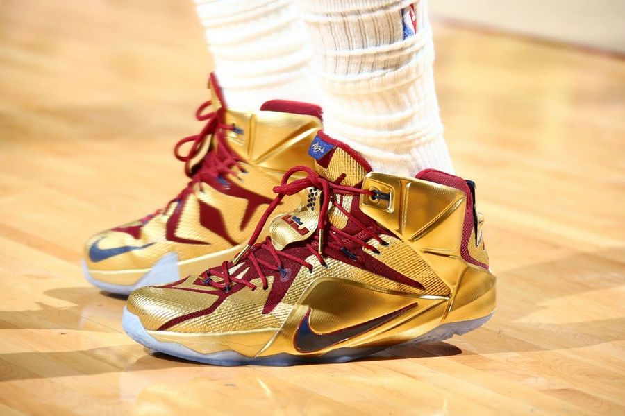 """LBJ Wears Shiny Nike LeBron 12 """"Cavs Gold"""" Finals PE in ..."""