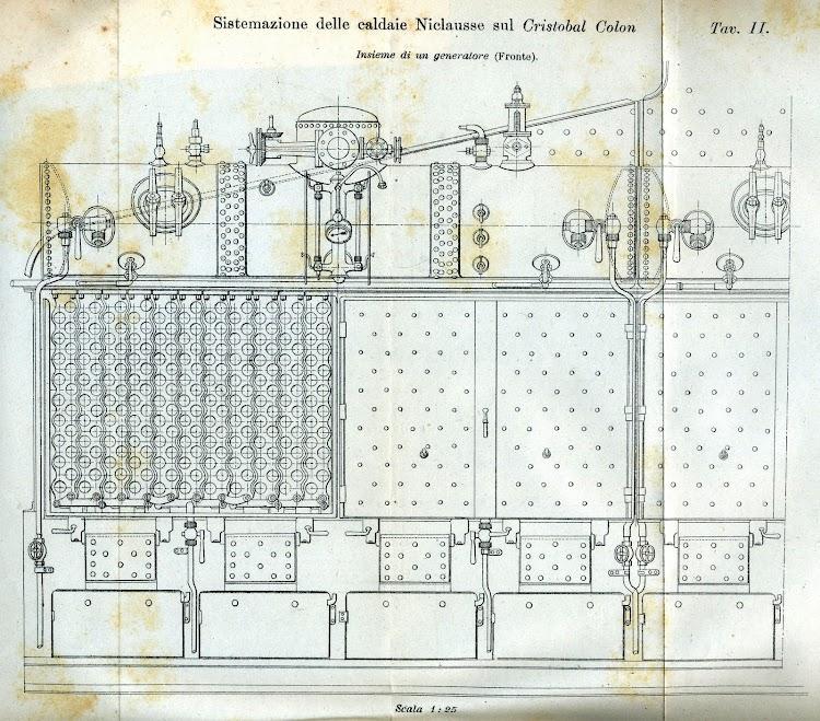 Diagrama frontal de uno de los generadores de las calderas Niclausse. De la Rivista Marittima. Año 1897.jpg
