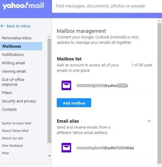 جميع حسابات البريد الإلكتروني صناديق بريد Yahoo