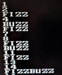 The FizzBuzz output, as displayed on a VGA monitor.