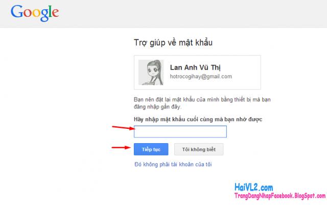 trợ giúp về mật khẩu gmail