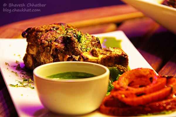 Paneer Kali Miri Tikka with Coriander Chutney at The Flying Saucer Sky Bar, Viman Nagar, Pune