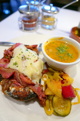 Higgins Lunch and Bistro menu option of the Open-faced sandwich of pastrami, grilled onions & sharp white cheddar - here I substituted the salad with their daily soup, a butternut squash with quinoa