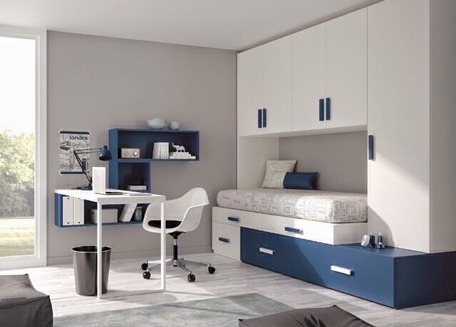 Dormitorio juvenil blanco azul for Cuarto universitario