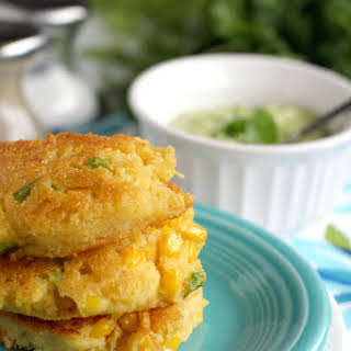 Fried Corn Cakes with Cilantro Avocado Cream..