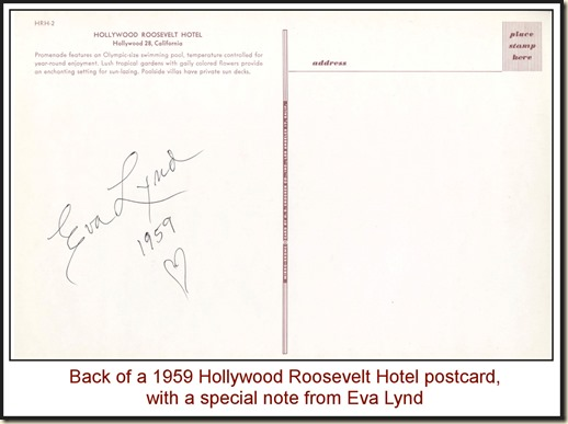 Eva Lynd - Hollywood Roosevelt Hotel (1959) - back WM2