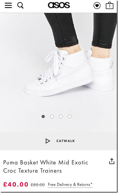 Puma Basket White Mid Exotic Croc Texture on asos