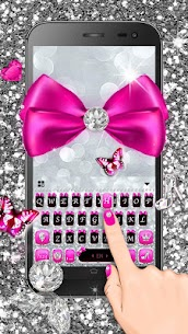 Silver Bowknot Keyboard Theme 1.0 Mod APK Updated Android 3
