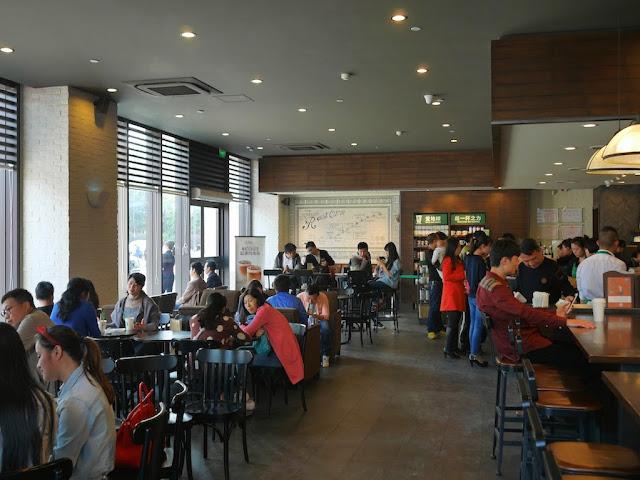 people inside the Starbucks in Hengyang, Hunan
