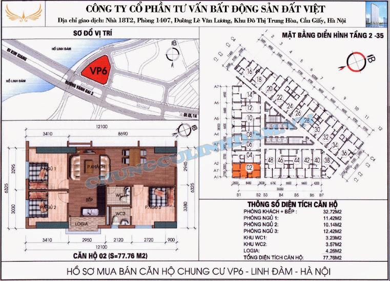 sơ đồ căn số 02 chung cư vp6 linh đàm