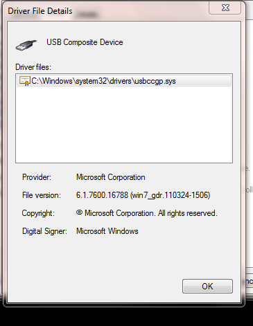 USB Composite device - cannot find specified file Solved