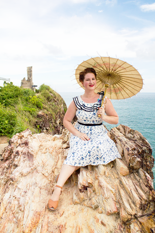 Sisjuly 40s Inspired Nautical Dress   Lavender & Twill