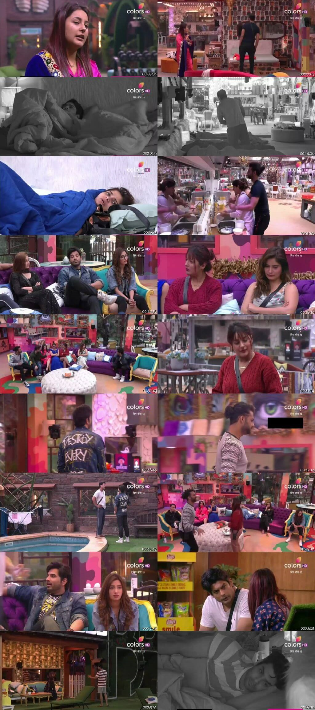 Screenshots Of Hindi Show Bigg Boss 13 7th January 2020 Episode 99 300MB 480P HD