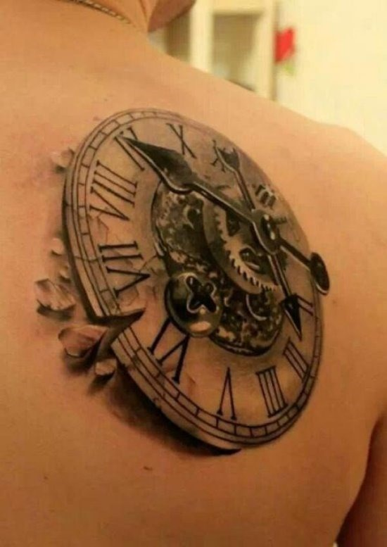 3d_incrvel_steampunk_relgio_de_tatuagem