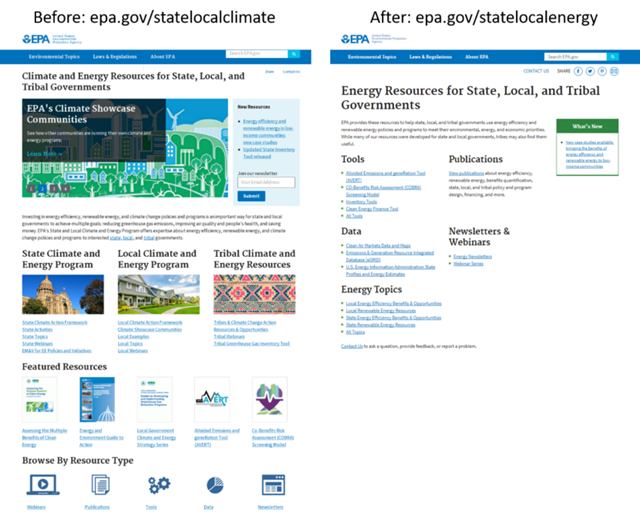 A new EPA website providing content about energy policy for state, local, and tribal governments has replaced a previous website, which hosted both climate and energy resources. Large portions of climate resources that were formerly found on the previous website have not been returned, and thus have ultimately been removed from the current EPA website. Graphic: EDGI / EPA