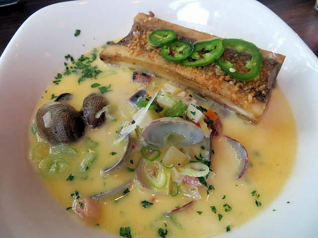 Ox restaurant Fresh Clam Chowder, Smoked Marrow Bone, Spring Onion, Jalapeño