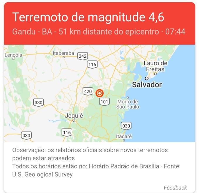 Bahia tem terremoto de magnitude 4.6  neste domingo (30)